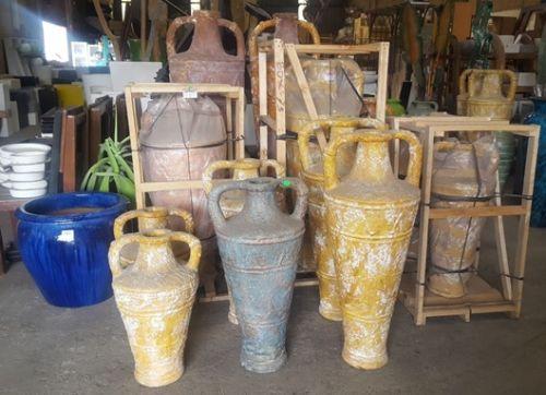 Indoor Decor - Terracotta Painted Texture Urns - 5 Sizes