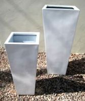 Lightweight Outdoor Tall Square Taper Planter Size 1 - White Gloss