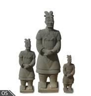Old Stone Free Standing Chinese Warrior - Large (50 x 50 x 145cm)