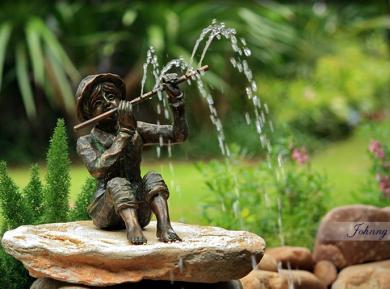 Small Bronze Fountain - Johnny & Flute