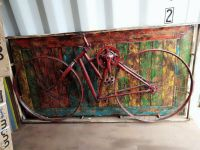 Unique decorative bicycle wall art - block mounted